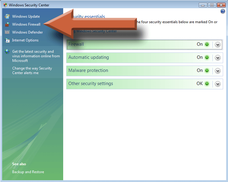 Enable Vista Firewall