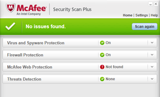 McAfee Security Scan